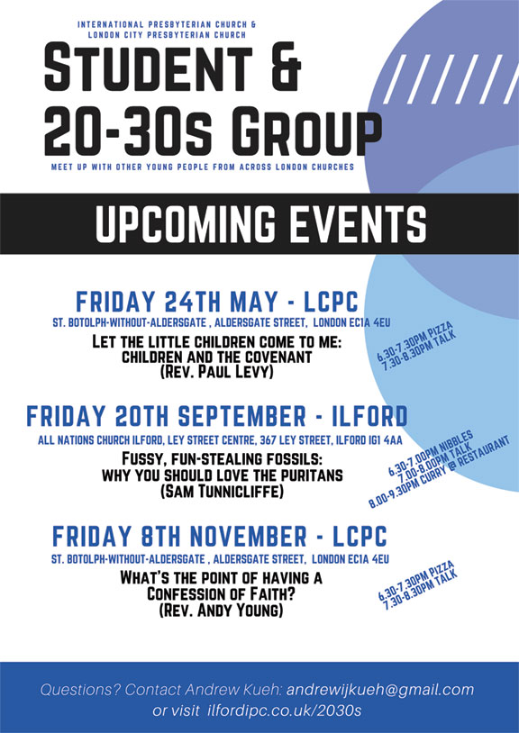 Flyer for joint London presbyterian church 20s & 30s meetings 2019